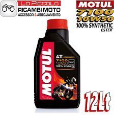 12 LITRI LT OLIO MOTORE MOTO MOTUL 7100 4T 10W50 100% SINTETICO ESTER MA2