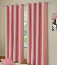 Ring Top Eyelet Thermal Blackout Pair Ready Made Curtains Black Cream Blue Pink Baby Pink 64 X 90 Inches