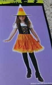 Girls Candycorn Witch Black & Orange Dress Hat Halloween Costume-size 7/8