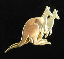 "Two Kangaroos Pin Vintage Brooch Wallaby Goldtone Kanga Roos Marsupial 1 3/8"""