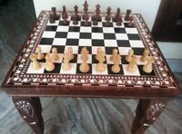 Chess Board table Square Center / Side Table Inlay Work Rosewood Foldable Decor
