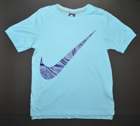 Nike Retro Vintage Blue Tag BIG SWOOSH T-Shirt Size Small Blue Excellent
