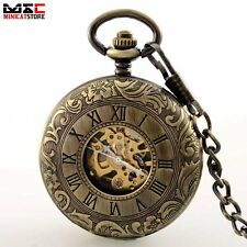 Bronze Double Hunter Windup Vintage Mechanical Pocket Watch Pendant Chain Retro