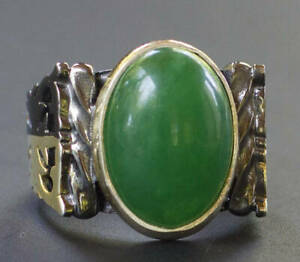 Solid 925 Sterling Silver Green Onyx Gemstone Statement Boys Mens Ring Jewelry