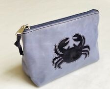 Cancer Zodiac Sign Cosmetics Pouch Bag - Purple Crab - Leather