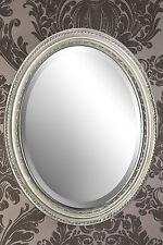 Spiegel Wandspiegel oval antik silber DUNJA 47 x 37 cm