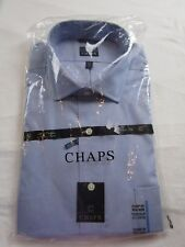 NWT Men's 17 1/2 34-35 Blue Classic Non Iron Button up front dress shirt CHAPS