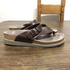 37 US 7 MEPHISTO Dark Brown Leather HELEN THONG SANDALS