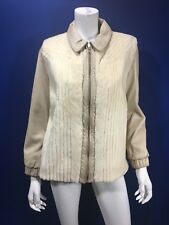 Fur and leather car coat off white medium furrier Barnard Cahill  Peterborough