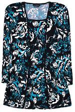 Ladies Plus Size Top Women New Floral Black Blouse Tshirt Size UK 12 14 16 18 20