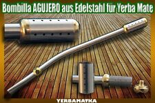 Bombilla AGUJERO aus Edelstahl INOX für Yerba Mate Tee mit Dreifach-Filtersystem