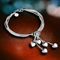 Fashion 925 Silver Heart Bracelet Bangle Women Costume Jewellery Hand Chain Gift
