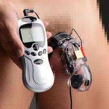 Electro Shock Chastity Device Adjustable Cuff Ring E-stim Male Cage POWER Box