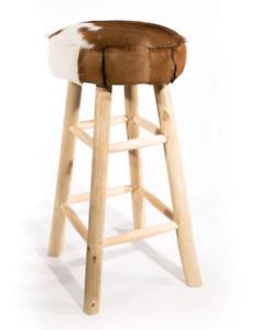 Bluebone Kampala Tall Bar Stool Round Seat Solid Wood Legs & Natural Goatskin