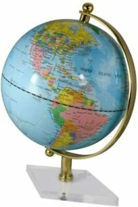 Kleiner Globus mit Messing, Fuß Acryl- Farbe himmelblau