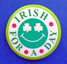 Button Pin St Patrick Vintage Shamrock Eyes Smiley Face Irish Day Holiday