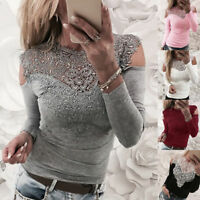 Women Sexy Lace Long Sleeve T-shirt Slim Fit Off Shoulder Blouse Lady Solid Tops