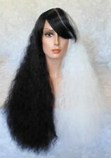"30"" Long Fluffy Black/White Full Synthetic Costume/Cosplay Wig - COS6"