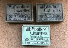 "3 ORIGINAL OLD WILLS ""WILD WOODBINE"" CIGARETTES PACKETS OF 5 BOX circa 1930s ?"