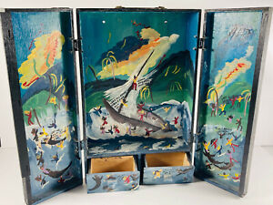 Folk Art 1992 Jessie Cooper Painted Box Shipwreck ronald Heaven hell devils