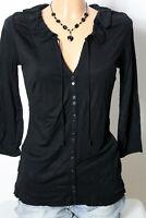 ESPRIT Shirt Gr. XS schwarz 3/4-Arm Hüft Damen Langarmshirt/Shirt mit Rüschen