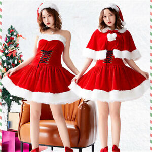 Christmas Costume Sexy Women Bandage Stage Dress Xmas Outfit Party Santa Helper