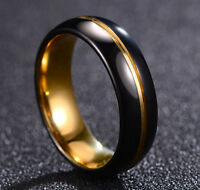Black Tungsten Carbide Gold Plated Men's 8MM Wedding Band Ring M81