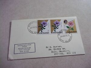 """1974 COOK ISLANDS SHIP MAIL COVER """"OCEAN MONARCH"""" To ENGLAND Flower Stamps"""