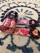 Lot Of 2 Vera Bradley Belts Tortoise Buckle Pink Elephant Pink Orange Floral