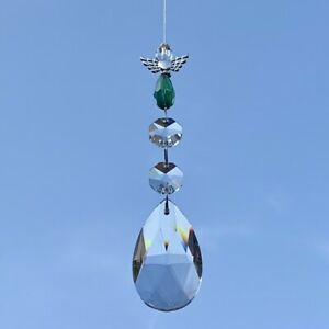 New Glass Crystal Guardian Angel Hanging Sun Catcher Mobile ~ Green ~ Protection