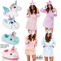 Luxury Ladies Unicorn 3D Slippers Or Short Hooded Bath Robe Gown Make A Gift Set
