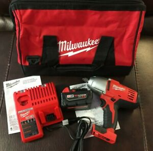 "NEW Milwaukee 2663-20 1/2"" 18v Impact Wrench (1) 3Ah Battery / Charger & Bag"