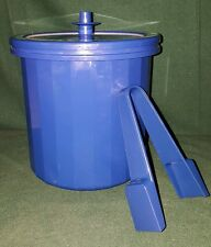 Tupperware Royal Blue Ice Bucket # 1683 with Tongs # 1688 4 piece set - EUC