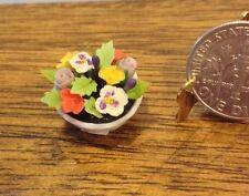 Dolls House Dollhouse 1:12 Miniature Pansy Floral Arrangement In Porcelain Bowl
