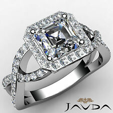 Split-Curve Shank Asscher Cut Diamond Engagement Ring GIA G SI1 Platinum 1.65 ct