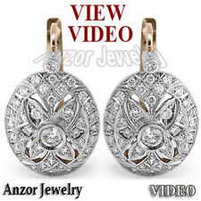 Russian Style Earrings 1.90 ct.t.w. Pave Diamond  14K ROSE & WHITE GOLD E910