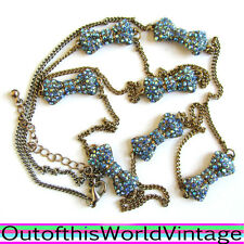 BLUE RHINESTONE BOW NECKLACE Made with SWAROVSKI CRYSTAL metal Juicy Inspired