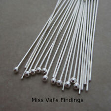 10 sterling silver jewelry headpins 2mm ball 2 inch  21 gauge