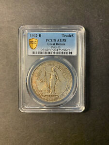 Great Britain silver trade dollar 1902 Bombay toned about uncirculated PCGS AU58