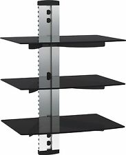 3-shelf Glass Silver LCD LED Plasma TV Wall Mount Shelf Bracket for SKY BOX TV