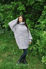 Hand Knitted Wool SWEATER Fuzzy Soft T-Neck Pullover Women's Dress Blouse 72