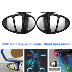 2x Car 360° Rotating Wide-angle Blind Spot Mirror Rearview Mirror (Left + Right)