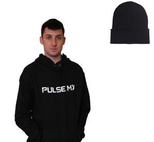 PULSE BLACK MOTOCROSS MX BMX MTB HOODIE + FREE BEANIE HAT!
