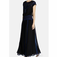 Karen Millen Black Silk Embroidered Beaded Maxi Dress UK Size 10 EUR 38 US 6