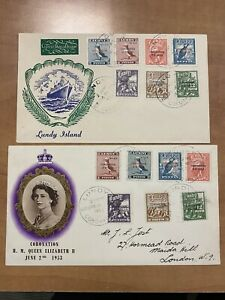 Lundy Island - 1953 Coronation, 2 FDC