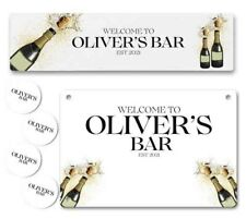 More details for personalised bar runner sign coaster any name garden plaque gift bar pub 213