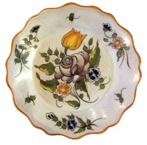 Ancienne assiette peinte pivoine tulipe bouquet de fleurs vintage France