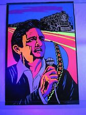 Vintage Psychedelic Blacklight Poster JOHNNY CASH Folsom Prison Train VERY RARE
