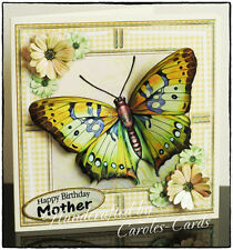Bu41  Handmade Personalised ButterflyYellow/Black Female Birthday Card 8x8