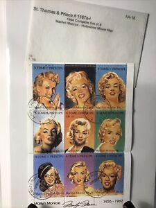 Vintage St. Thomas Kenmore Stamps Marilyn Monroe Collectible Block Of 9